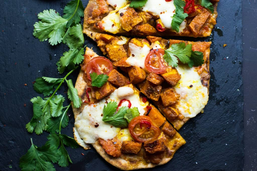 Indian Spiced Butternut Squash Naan PIzza